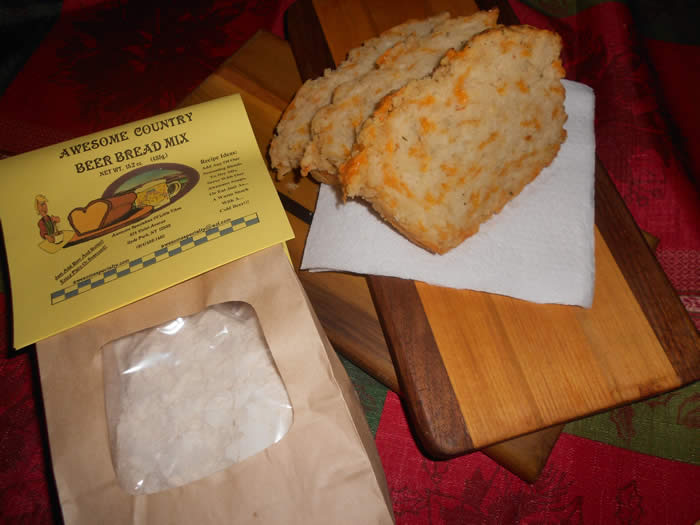 AWESOME COUNTRY BEER BREAD MIX---- Slices shown were a loaf made with cheddar cheese and GOBS OF GARLIC!